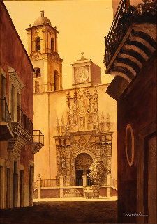 Templo San Miguel Watercolor 40x30 Huge Watercolor - Ruben Resendiz