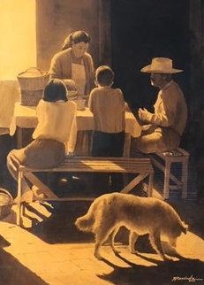 Hora De Comer Watercolor 2003 47x30 Watercolor - Ruben Resendiz