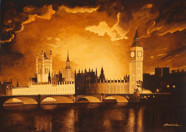 Big Ben Watercolor 30x40 London Watercolor by Ruben Resendiz
