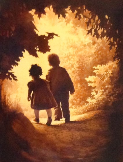 Innocent Children Watercolor 43x35 Watercolor by Ruben Resendiz