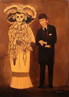 Frida And the Skull Watercolor 2009 46x36 Watercolor - Ruben Resendiz
