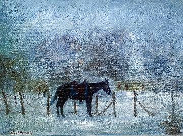 Untitled (Horse with Saddle) 22x26 Original Painting - Charles Henry Reynolds