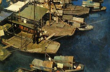 Boats 1969 35x47 Original Painting - James Reynolds