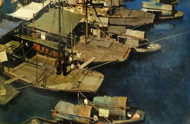 Boats 1969 35x47 Original Painting by James Reynolds