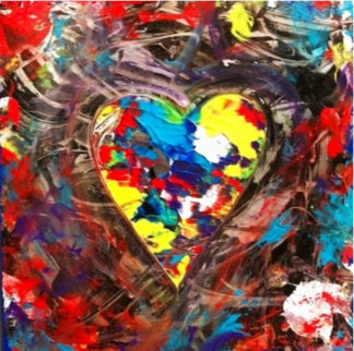 Heart #2 Creation Original 2019 23x18 Original Painting - Shahrokh Rezvani