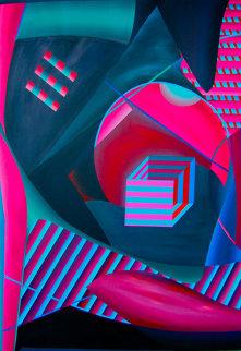 Mystical Equilibrium VIII 1989 65x45 Original Painting - Shahrokh Rezvani
