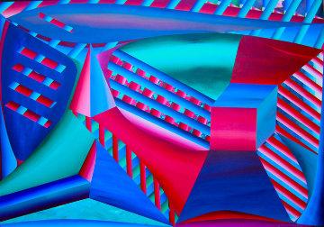 Mystical Equilibrium VII 1988 45x65 Original Painting - Shahrokh Rezvani