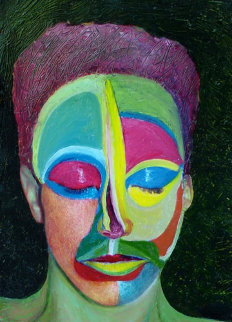 Solitute IV 2007 19x27 Original Painting - Shahrokh Rezvani