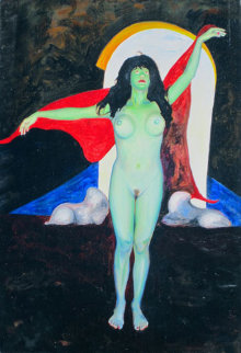 American Madonna Suite, #17 12x28 Original Painting - Shahrokh Rezvani