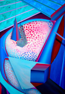 Mystical Equilibrium VI 1987 65x45 Original Painting - Shahrokh Rezvani