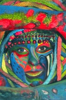 Tribal #1 2013 18x12 Original Painting - Shahrokh Rezvani