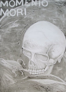Momento Mori 2001 41x30 Original Painting - Rudy  Fernandez