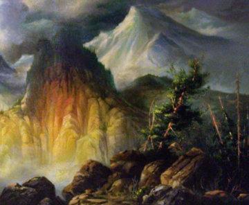 Untitled Mountain Landscape 40x32  Huge Original Painting - M. Charles Rhinehart