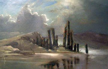 Untitled Cloudy Landscape 1960 37x38 Original Painting - M. Charles Rhinehart