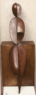 Positive/Negative Leaning Bronze Sculpture 2001 42 in Sculpture - Robert Holmes
