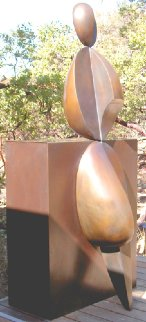 Positive / Negative Leaning Life Size Bronze Sculpture 2001 84 in Sculpture - Robert Holmes
