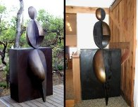 Positive / Negative Leaning Life Size Bronze Sculpture 2001 84 in Sculpture by Robert Holmes - 4