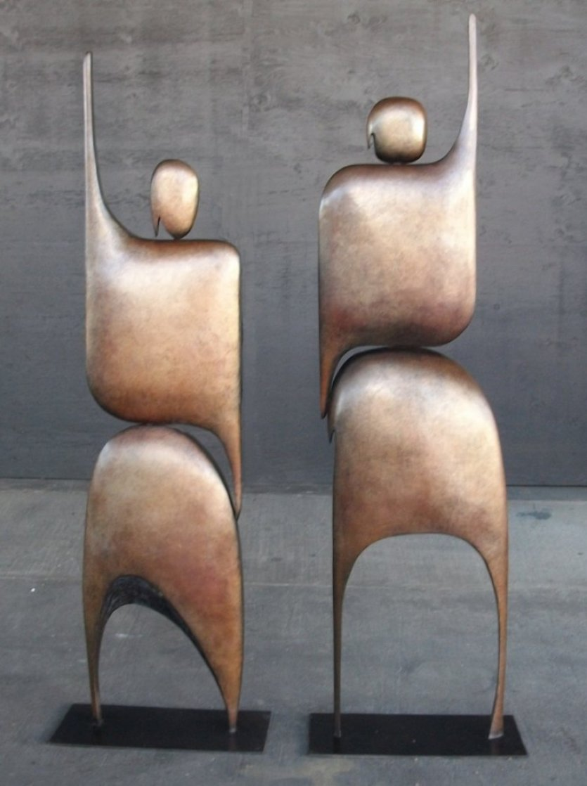 I Am Standing Arms Raised Bronze Sculpture 1992 80x40 in Huge Sculpture by Robert Holmes