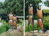 I Am Standing Arms Raised Bronze Sculpture 1992 80x40 in Huge Sculpture by Robert Holmes - 3