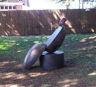 Pos/Neg on Round Base Bronze Sculpture 1994 54x48 in Sculpture by Robert Holmes - 4