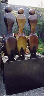 Three Women Two Fish Bronze Sculpture 74 in High (Life Size) Sculpture by Robert Holmes