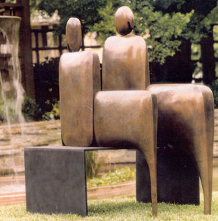I Am Seated Pair Bronze Sculpture 2003 48 in Sculpture - Robert Holmes