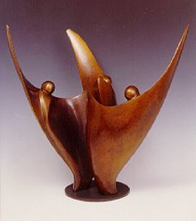 Flower Dancers (Three Figures) Bronze Sculpture 2009 17 in  Sculpture by Robert Holmes