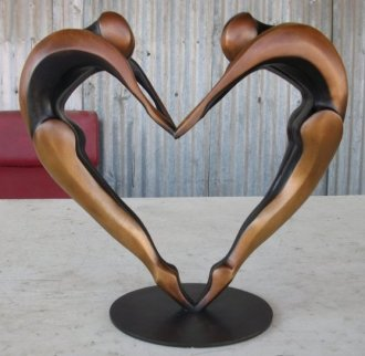 Arched Dancers II Small Bronze Sculpture 16 in Sculpture by Robert Holmes