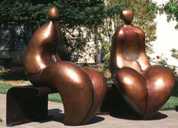 Mr. And Mrs. Nantua Bronze Sculpture 1999  6 Ft Sculpture by Robert Holmes