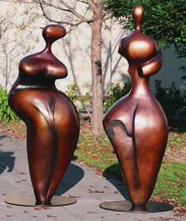 Adam And Eve, Pair of  6 ft (large) Bronze Sculpture 1998 72 in Sculpture - Robert Holmes
