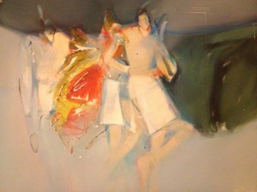 Spring Ponies 1988 32x40 Original Painting - Jean Richardson