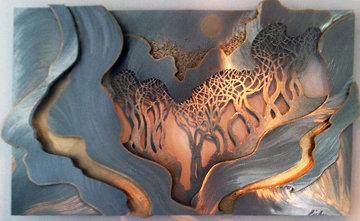 Beyond the Trees Unique  Wall Bronze and Steel Sculpture 1990 34x50 Sculpture - John Richen