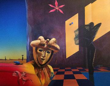 Golden Mask 1991 47x57 Huge Original Painting - Rick Garcia