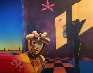 Golden Mask 1991 47x57 Super Huge Original Painting - Rick Garcia