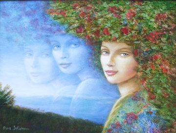 Blue Sky 2005 16x20 Original Painting - Rina Sutzkever