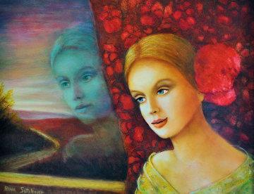Spanish Girl 2006 18x23 Original Painting - Rina Sutzkever