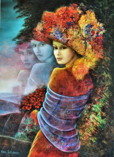 Flower Girl 28x20 Original Painting by Rina Sutzkever