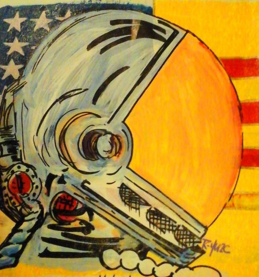 Space Man - Liberty Edition 2005 13x13 Original Painting by  Ringo