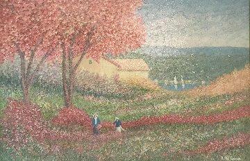 Under the Red Trees 1987 28x40 Original Painting - Rino Li Causi