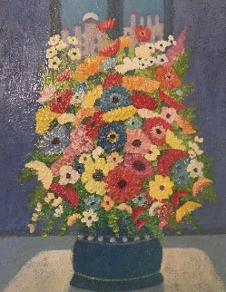 Luna Piena Con Fiori 1993 20x24 Original Painting - Rino Li Causi