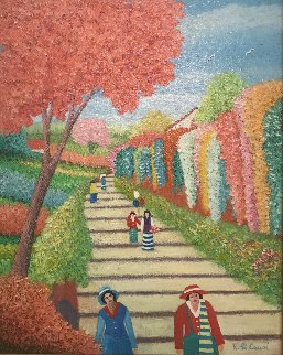 Road to the Village 1993 20x24 Original Painting - Rino Li Causi