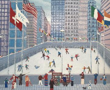 Skating 2005 21x24 Rockefeller Center Original Painting - Rino Li Causi