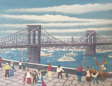 Brooklyn Bridge 2004 14x18 Original Painting - Rino Li Causi