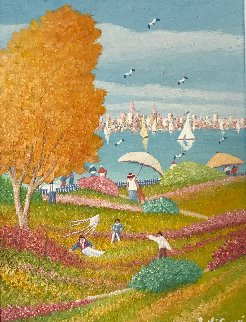Picnic At the Beach 2003 16x20 Original Painting - Rino Li Causi