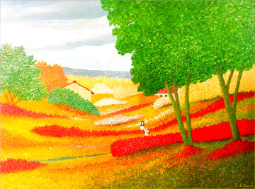 Spring in the Valley 1995 44x56 Original Painting - Rino Li Causi