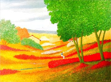 Spring in the Valley 1995 44x56 Huge Original Painting - Rino Li Causi