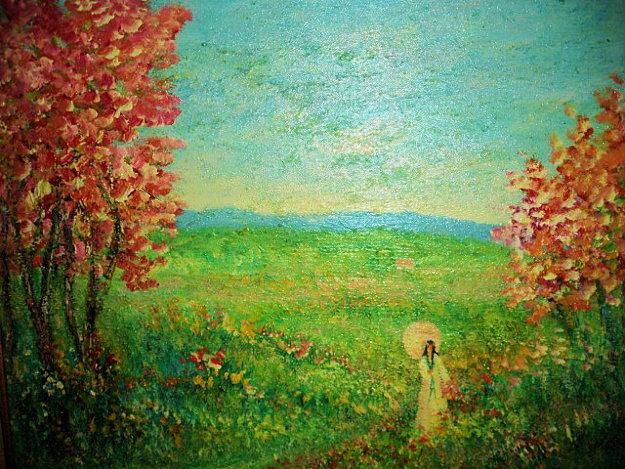 Figure in a Landscape 20x24 Original Painting by Rino Li Causi