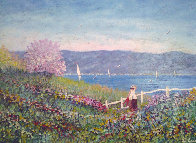 Untitled Landscape 1980 24x36 Original Painting by Rino Li Causi - 0