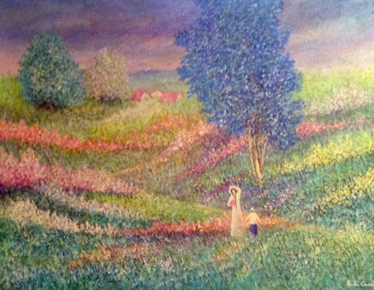 Momento di Pace (Moment of Peace) 1985 38x48 Super Huge Original Painting by Rino Li Causi