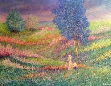 Momento di Pace (Moment of Peace) 1985 38x48 Huge Original Painting - Rino Li Causi